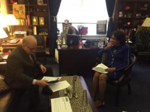 President Mark B. Rosenberg meets with Congresswoman Federica Wilson in the capitol.